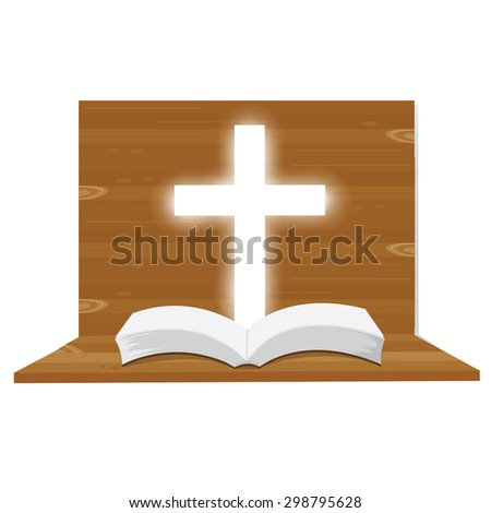 illustration. Bible open Christian. into the light. Religious symbol of Christianity. - stock vector