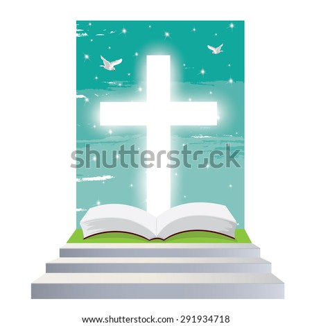 illustration. Bible open Christian. Staircase into the light. Religious symbol of Christianity. - stock vector