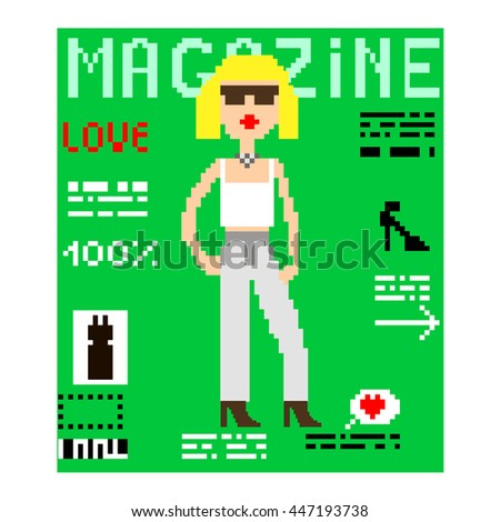 Illustration 8 bit pixel art glamour magazine journal cover fashion girl celebrity young woman text Love columns accessories with headline OK! isolated on white background / vector eps 10 - stock vector