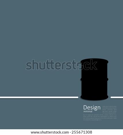 Illustration black oil barrel roll, logo template corporate style - vector - stock vector