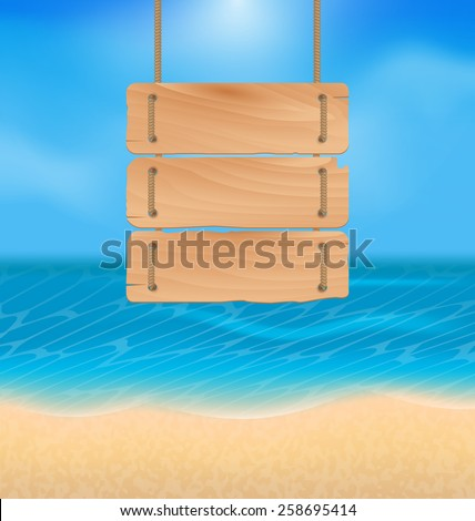 Illustration blank wooden sign on beach, natural seascape - vector - stock vector