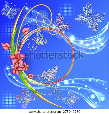 illustration blue background frame with the circle of flowers and butterflies with gems - stock vector