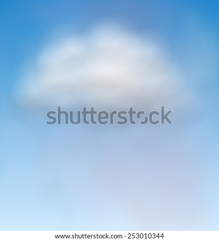 Illustration blue sky with realistic clouds, heaven background - vector