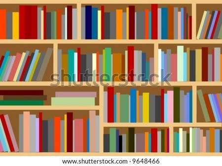illustration bookcase library furniture vector book - stock vector
