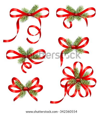 Illustration Bow Ribbons with Fir Branches Isolated on White Background. Traditional Elements for New Year and Christmas Design - Vector - stock vector