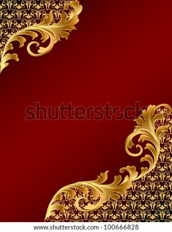 illustration brown background with gold(en) ornament - stock vector