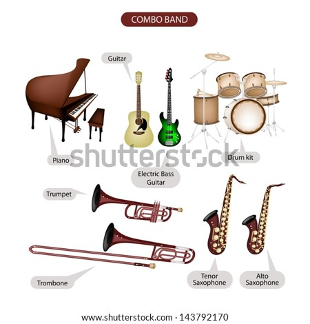 Illustration Brown Color Collection of Musical Instruments Combo Brand, Piano, Guitar, Electric Bass Guitar, Drum Kit, Trumpet, Trombone, Tenor Saxophone and Alto Saxophone in Retro Style   - stock vector