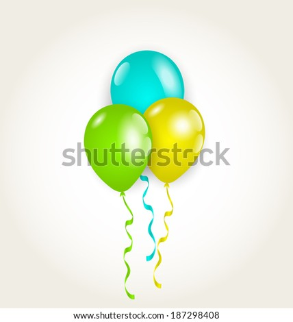 Illustration bunch party balloons for your birthday - vector - stock vector