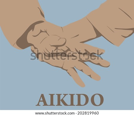 Illustration, capture of hands in Aikido - stock vector