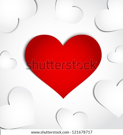 Illustration card of Valentine's day with paper hearts - vector
