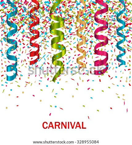 Illustration Carnival Background with Set Colorful Paper Serpentine and Confetti - Vector