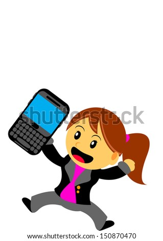 illustration cartoon character businesswoman with qwerty smartphone - stock vector