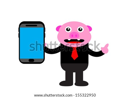 illustration cartoon character of pig with business activity