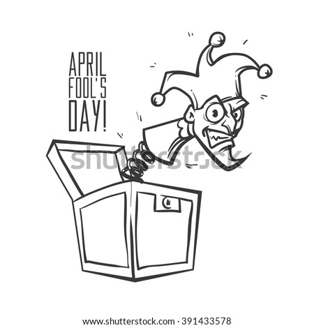 Illustration celebrating April Fools' Day, jack in the box toy, springing out of a box, cartoon character, vector illustration - stock vector