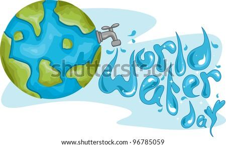 Illustration Celebrating World Water Day - stock vector