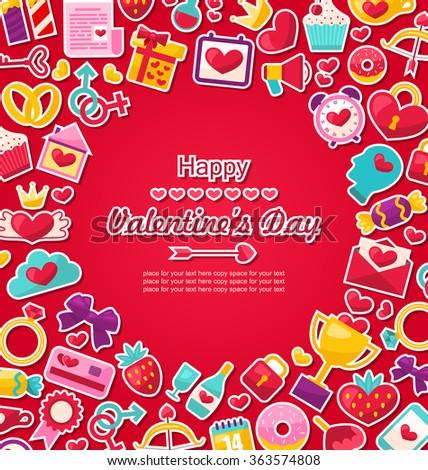 Illustration Celebration Postcard for Valentine's Day. Flat Valentine Icons, Cupid Arrows, Love Letter, Gender Symbols, Present, Strawberry, Candy - Vector - stock vector