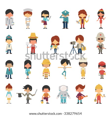 Illustration characters of kids or children in various occupations concept. Flat design, simple design. Diversity with multi-ethnic.   - stock vector