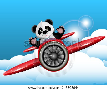 Illustration cheerful red panda on a plane - stock vector