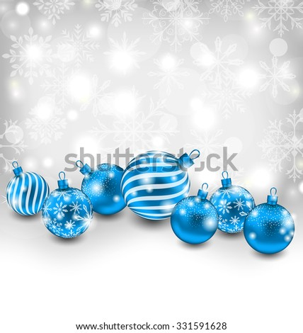 Illustration Christmas Abstract Shimmering Background with Blue Balls, Lighten Wallpaper - Vector - stock vector