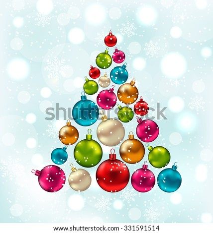 Illustration Christmas Abstract Tree Made in Colorful Balls, Snowing Background - Vector - stock vector