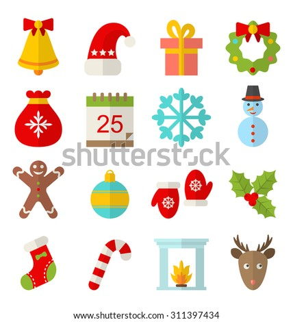 Illustration Christmas and Winter Traditional Symbols, Minimalism Style - Vector