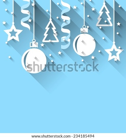 Illustration Christmas background with fir, balls, stars, streamer, trendy flat style - vector - stock vector