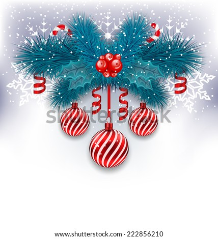 Illustration Christmas background with fir branches, glass balls and sweet canes - vector  - stock vector