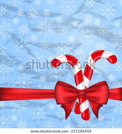 Illustration Christmas background with gift bow and sweet canes, snowflakes texture - vector - stock vector