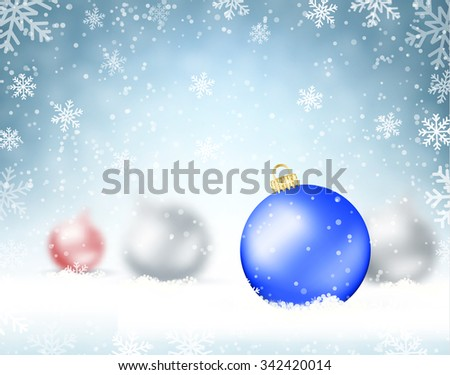 Illustration Christmas background with glass balls and snowflakes.  Holiday Design for New Year Greeting Cards, Posters and Flyers. vector illustration - stock vector