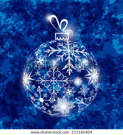 Illustration Christmas ball made in snowflakes on grunge background - vector
