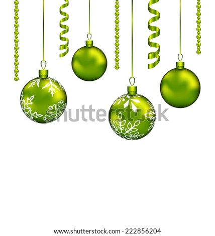 Illustration Christmas balls with streamer and copy space for your text - vector - stock vector