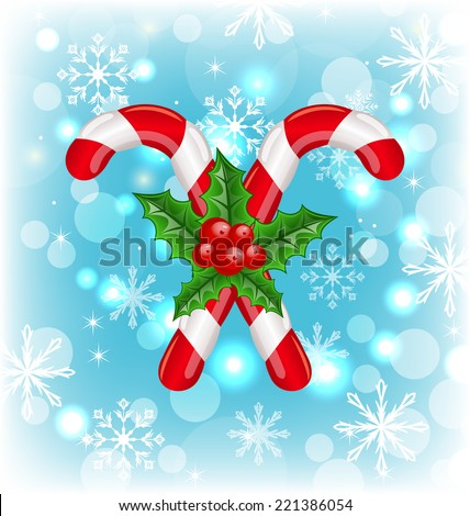 Illustration Christmas caramel canes with holly berry, glowing background - vector - stock vector