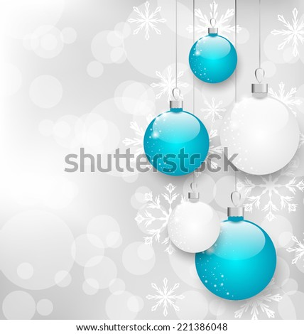 Illustration Christmas card with colorful balls and copy space for your text - vector - stock vector