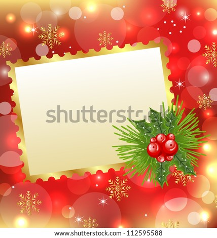 Illustration Christmas card with mistletoe and pine - vector
