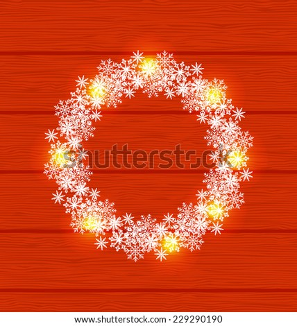 Illustration Christmas circle frame made in snowflakes on red wooden background - vector - stock vector