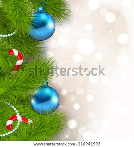 Illustration Christmas composition with fir branches, glass balls and sweet canes - vector