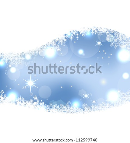 Illustration Christmas cute wallpaper with sparkle, snowflakes, stars - vector - stock vector