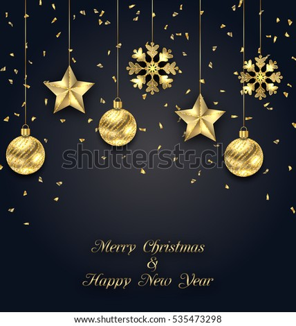 Illustration Christmas Dark Background with Golden Baubles, Greeting Banner - Vector