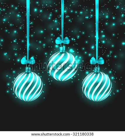 Illustration Christmas Dark Shimmering Background with Turquoise Glassy Balls - Vector - stock vector