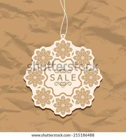 Illustration Christmas discount label, vintage style - vector - stock vector