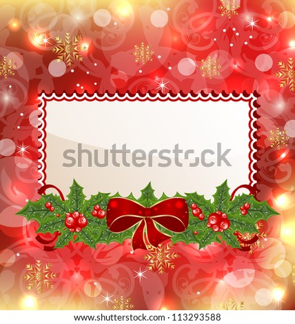 Illustration Christmas elegant card with mistletoe and bow - vector