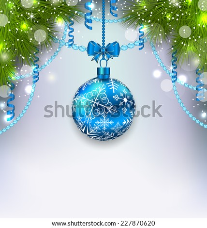 Illustration Christmas glass ball, fir branches, streamer, copy space for your text - vector - stock vector