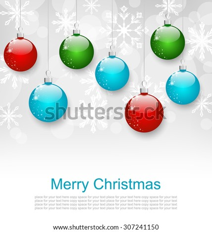 Illustration Christmas Snowflakes Background with Set Colorful Balls - Vector - stock vector
