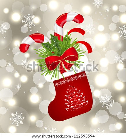 Illustration Christmas sock with sweet canes - vector - stock vector