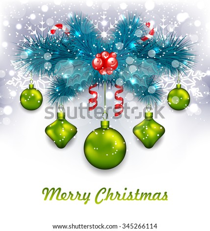 Illustration Christmas Traditional Decoration with Fir Branches, Glass Balls and Sweet Canes - vector - stock vector