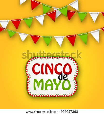 Illustration Cinco De Mayo Holiday Bunting Background. Mexican Poster - Vector - stock vector