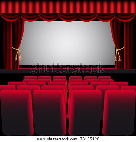illustration cinema hall with red curtain and easy chair - stock vector