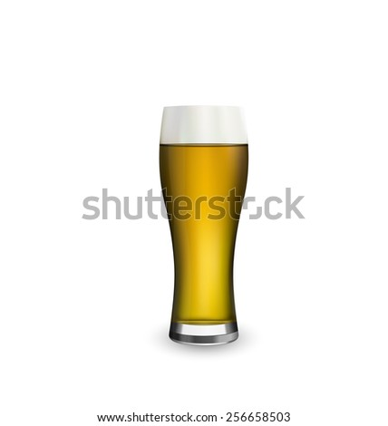 Illustration close up realistic glass of beer isolated on white background - vector