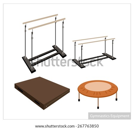 Illustration Collection of Artistic Gymnastics Equipment Uneven Bars, Parallel Bars, Trampoline and Gymnastics Mat on White Background. - stock vector
