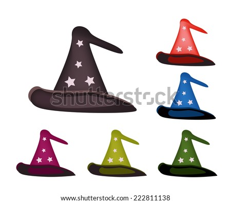 Illustration Collection of Colorful Witch Hat Isolated on White Background, For Halloween Celebration.  - stock vector